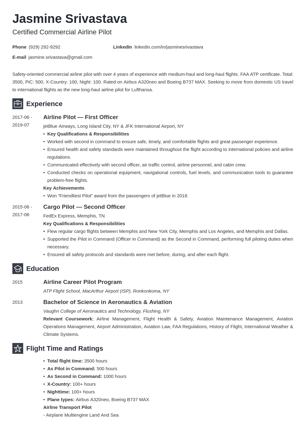 pilot resume template  examples for aviation professionals