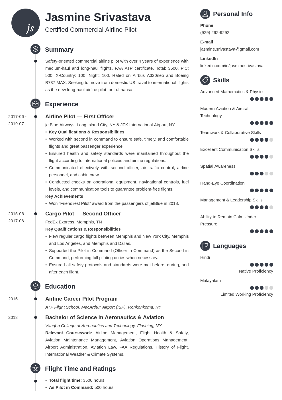 pilot resume example template primo