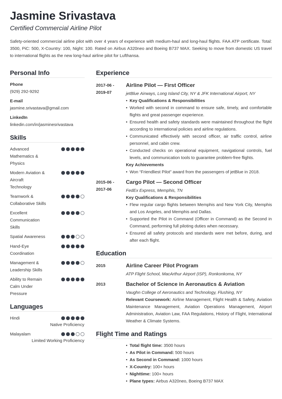 pilot resume example template simple
