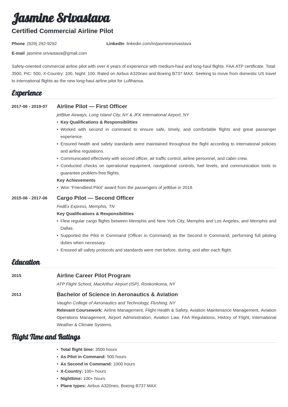 pilot resume example template valera