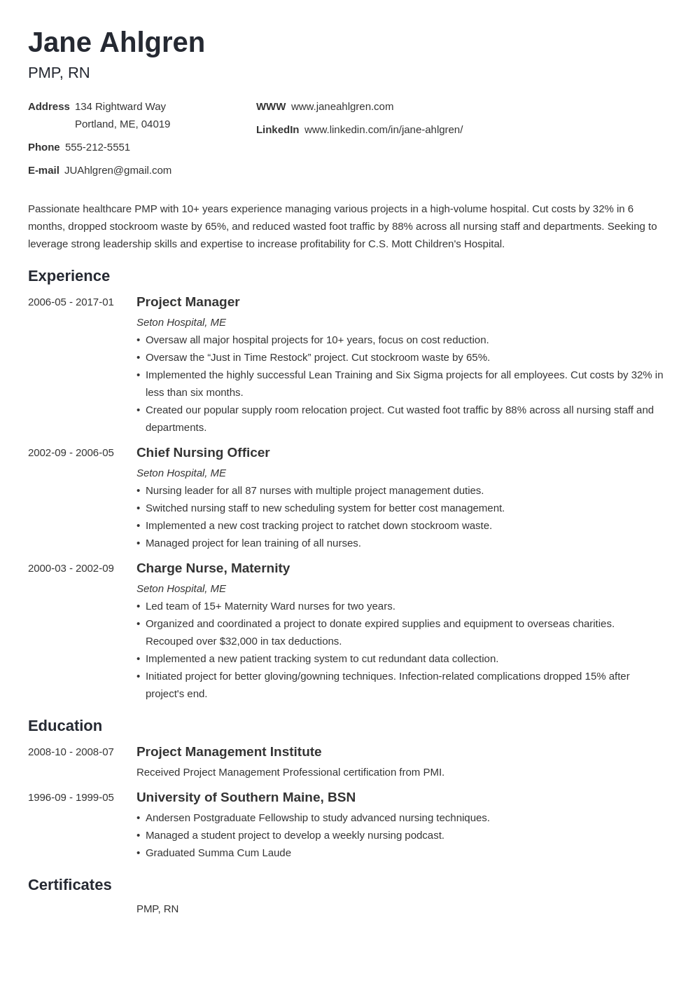 plain text resume example template minimo
