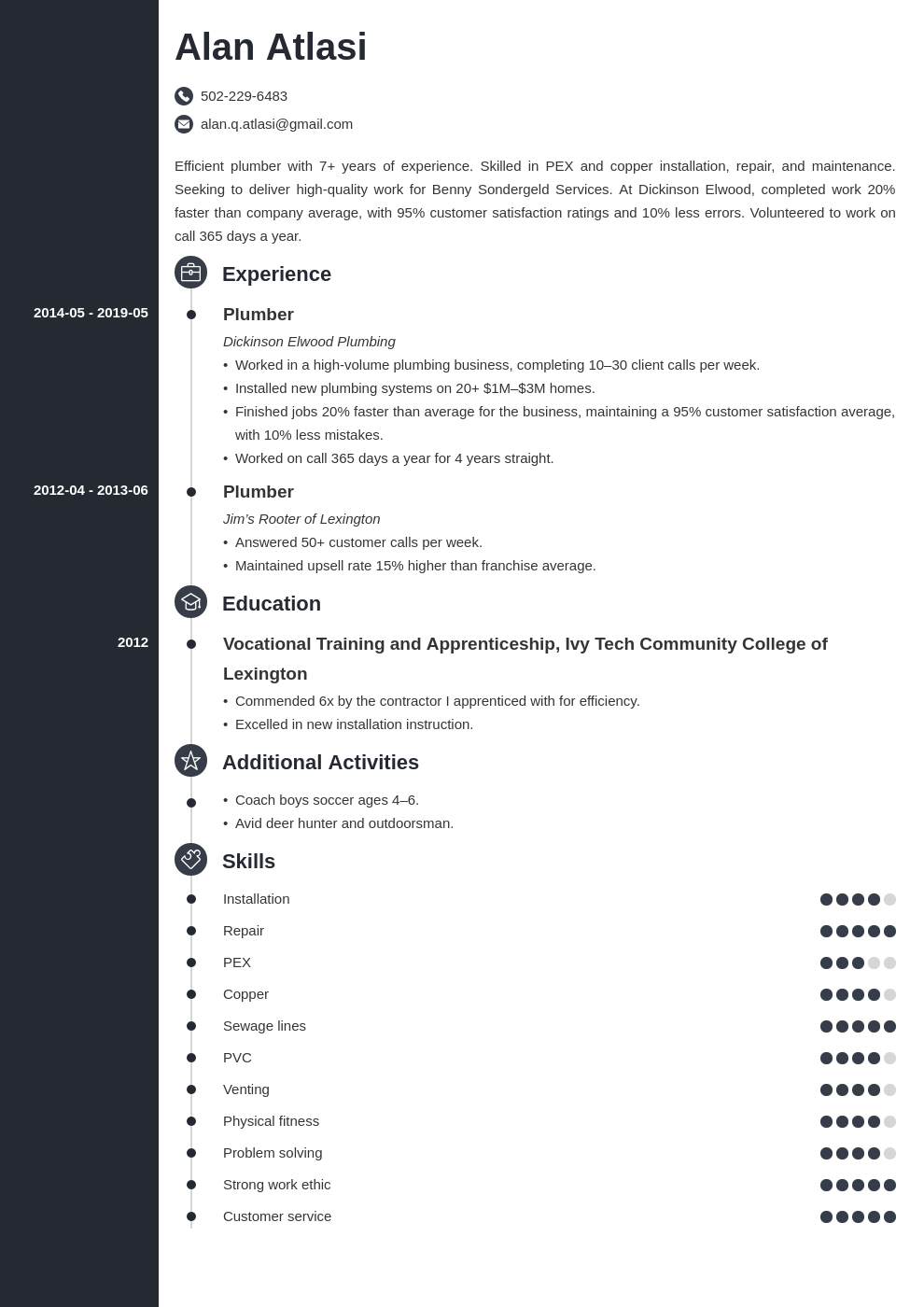plumber resume example template concept
