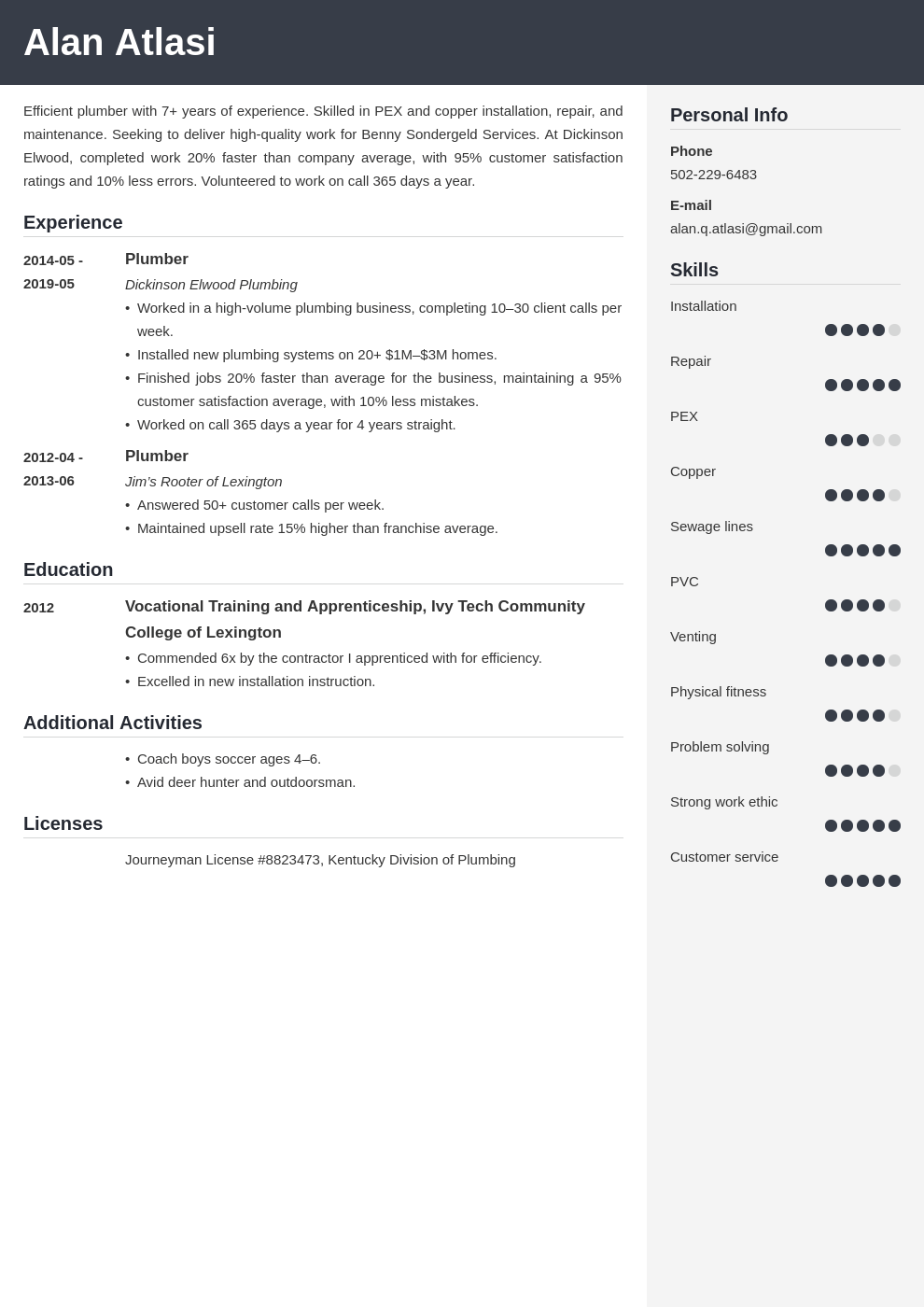 plumber resume example template cubic