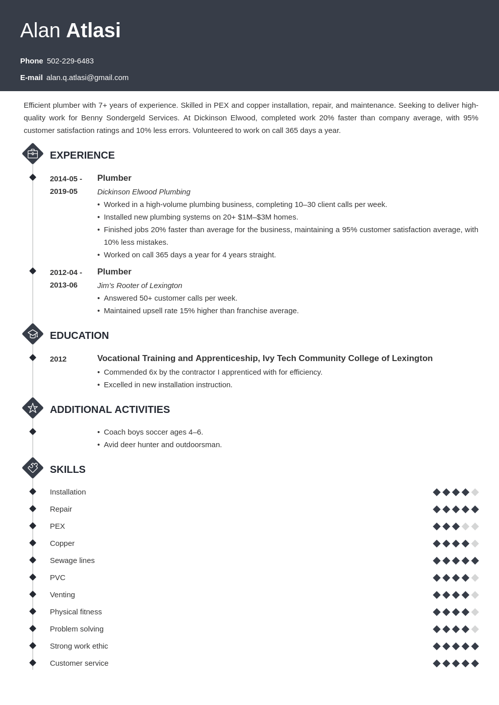 plumber resume example template diamond