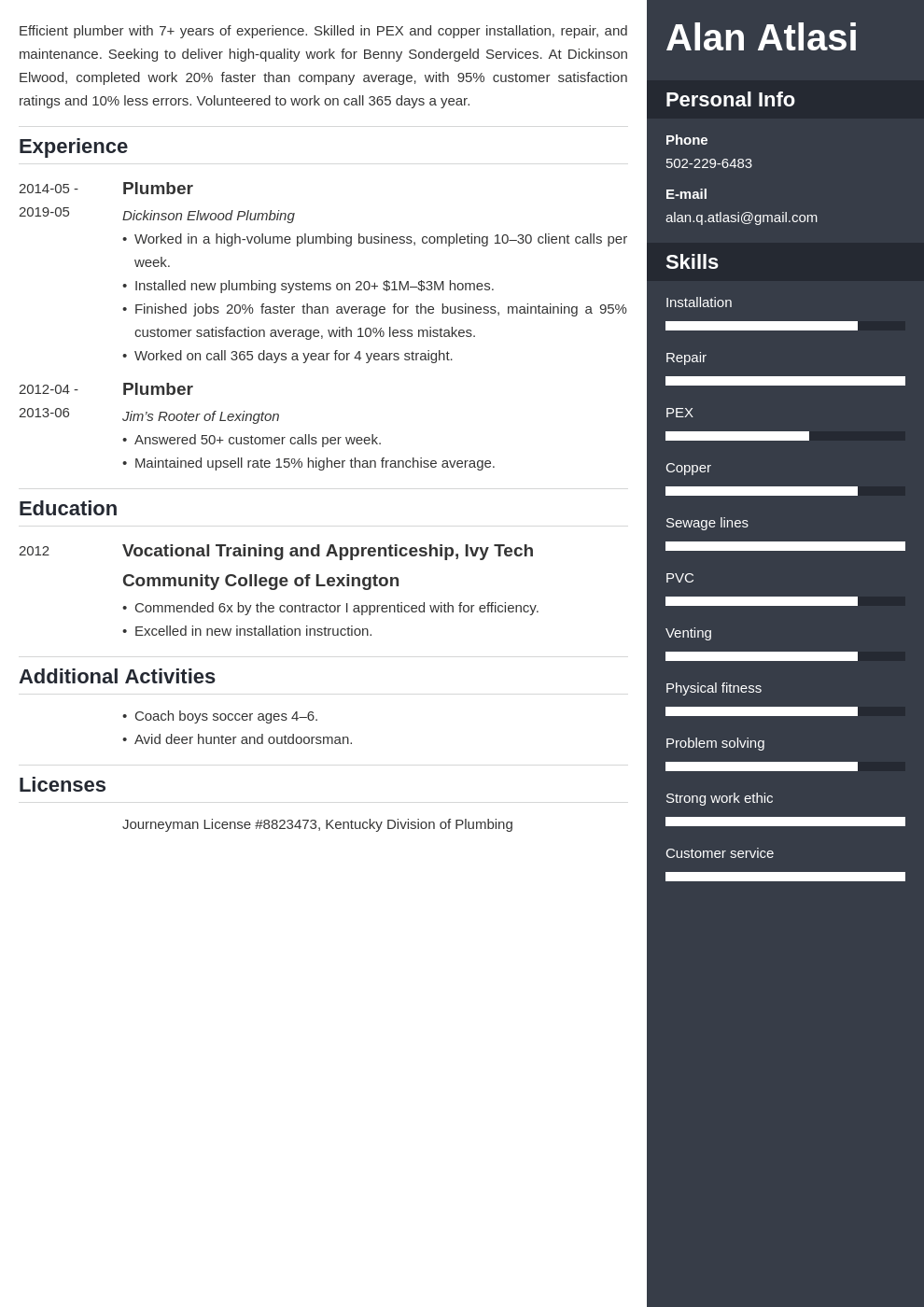 plumber resume example template enfold