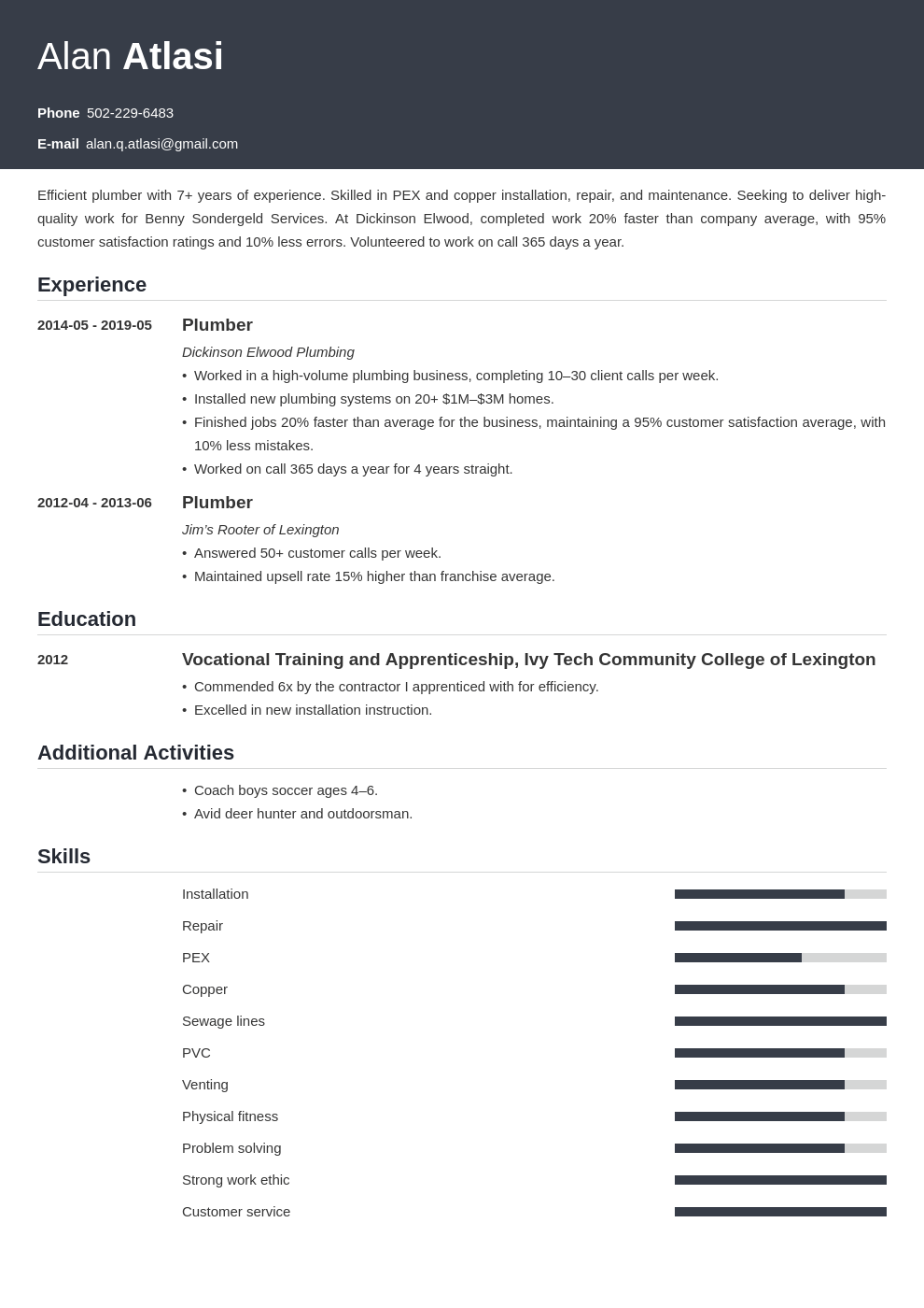 plumber resume example template influx