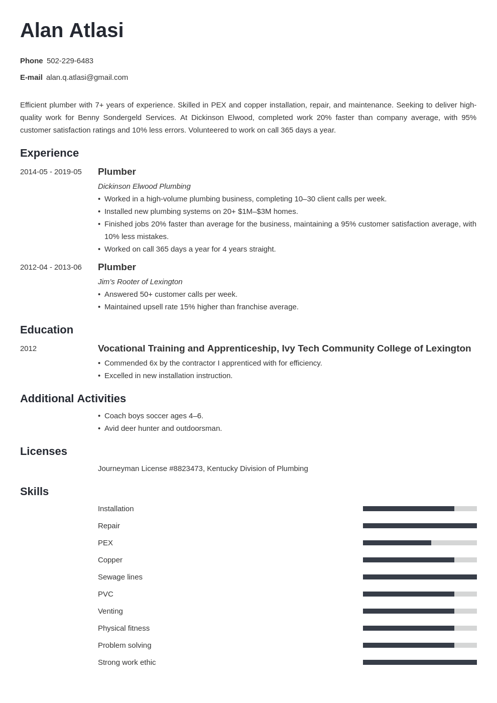 plumber resume example template minimo