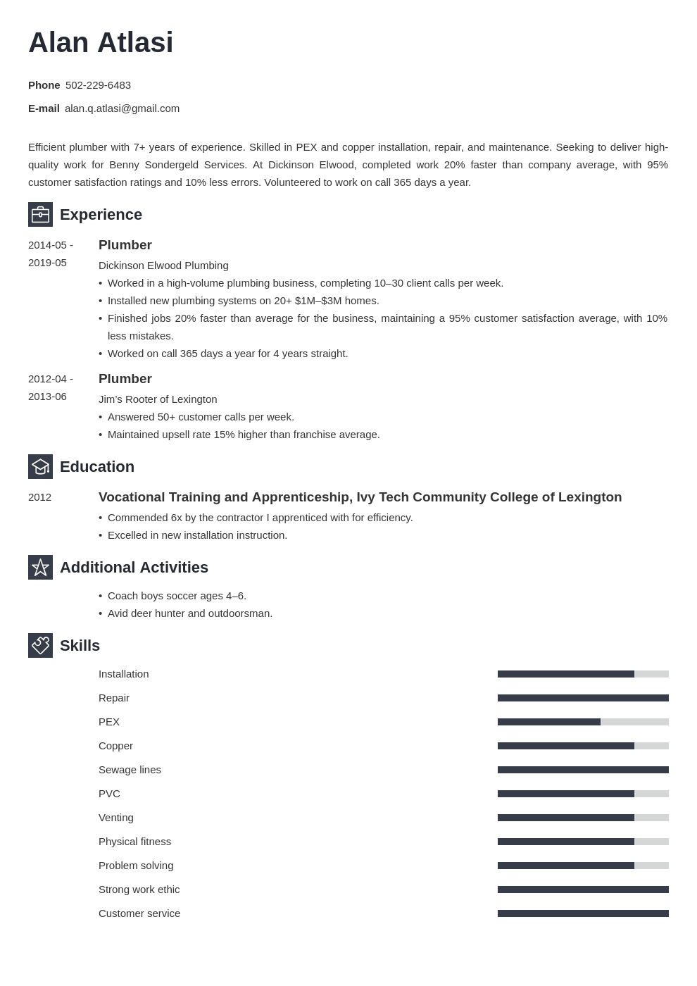 plumber resume example template newcast