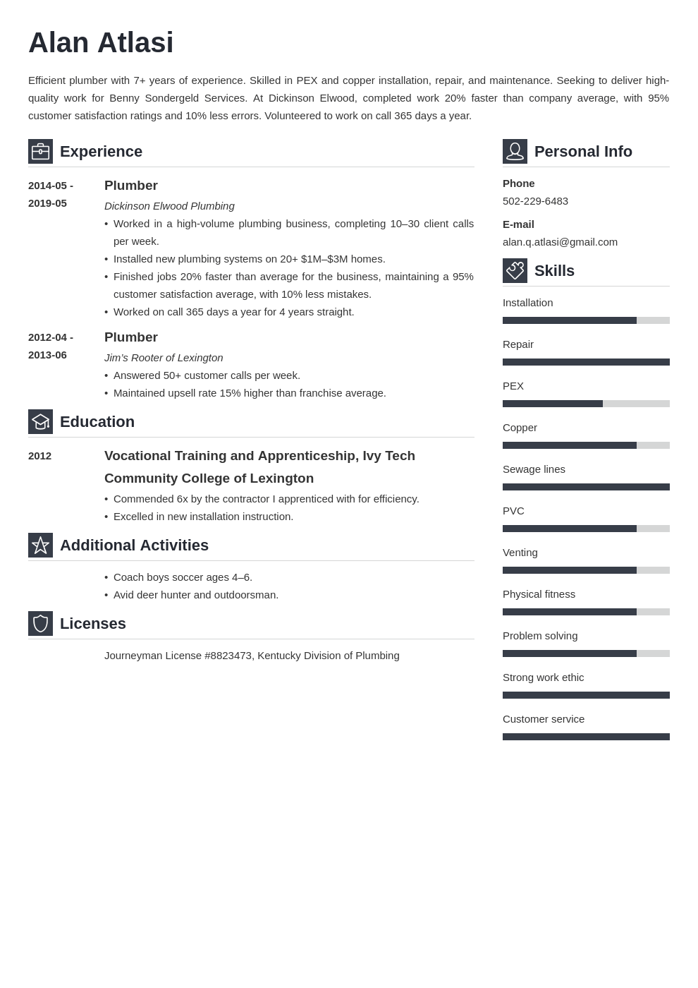 plumber resume example template vibes