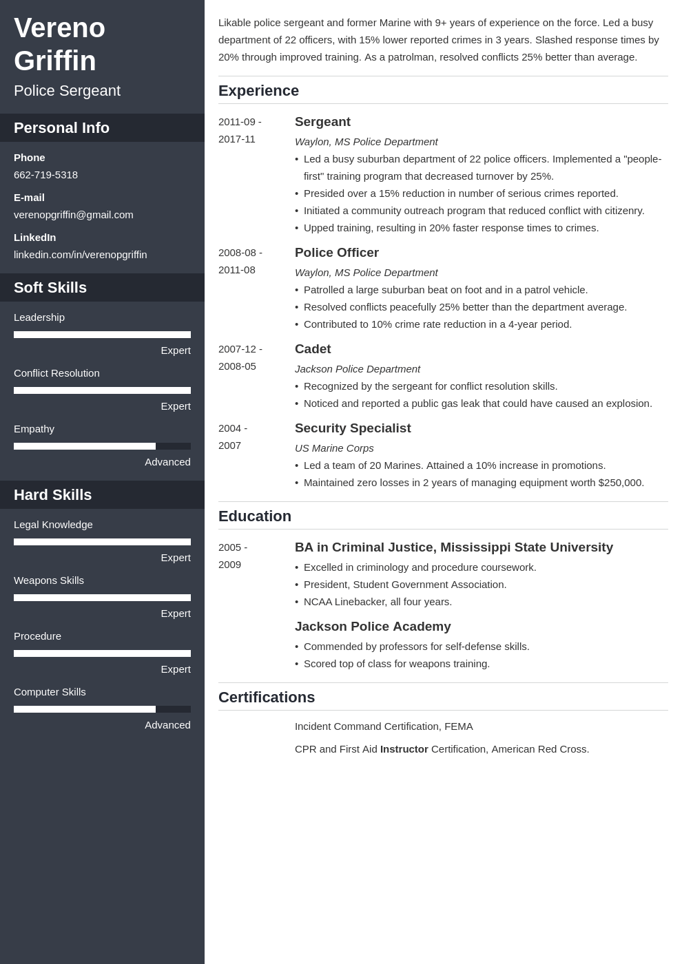 police officer resume example template cascade