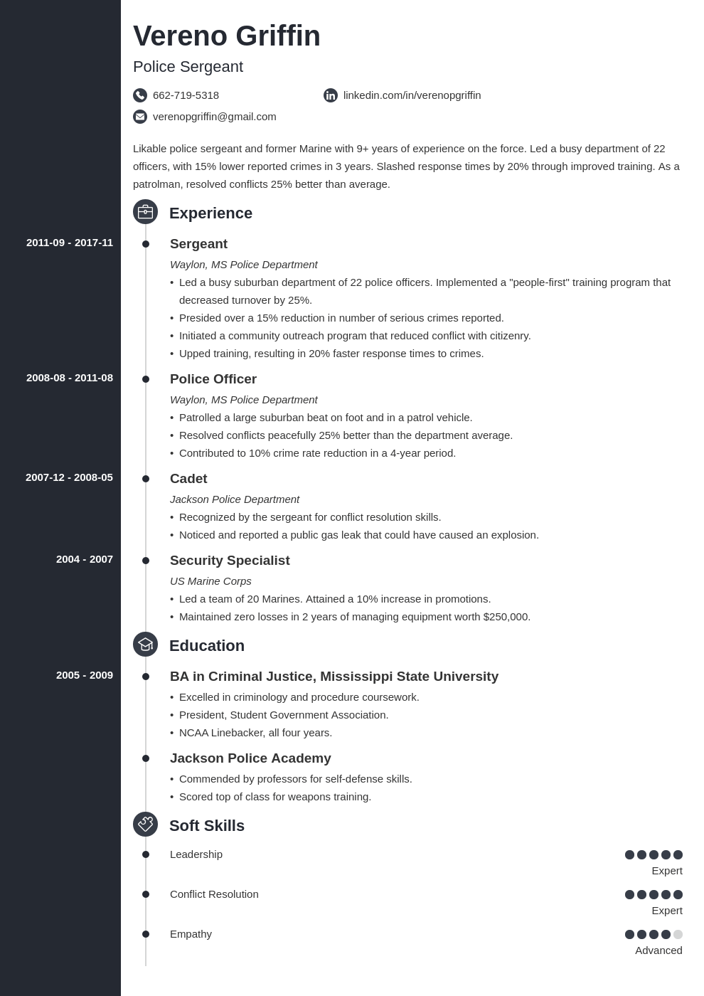 police officer resume example template concept