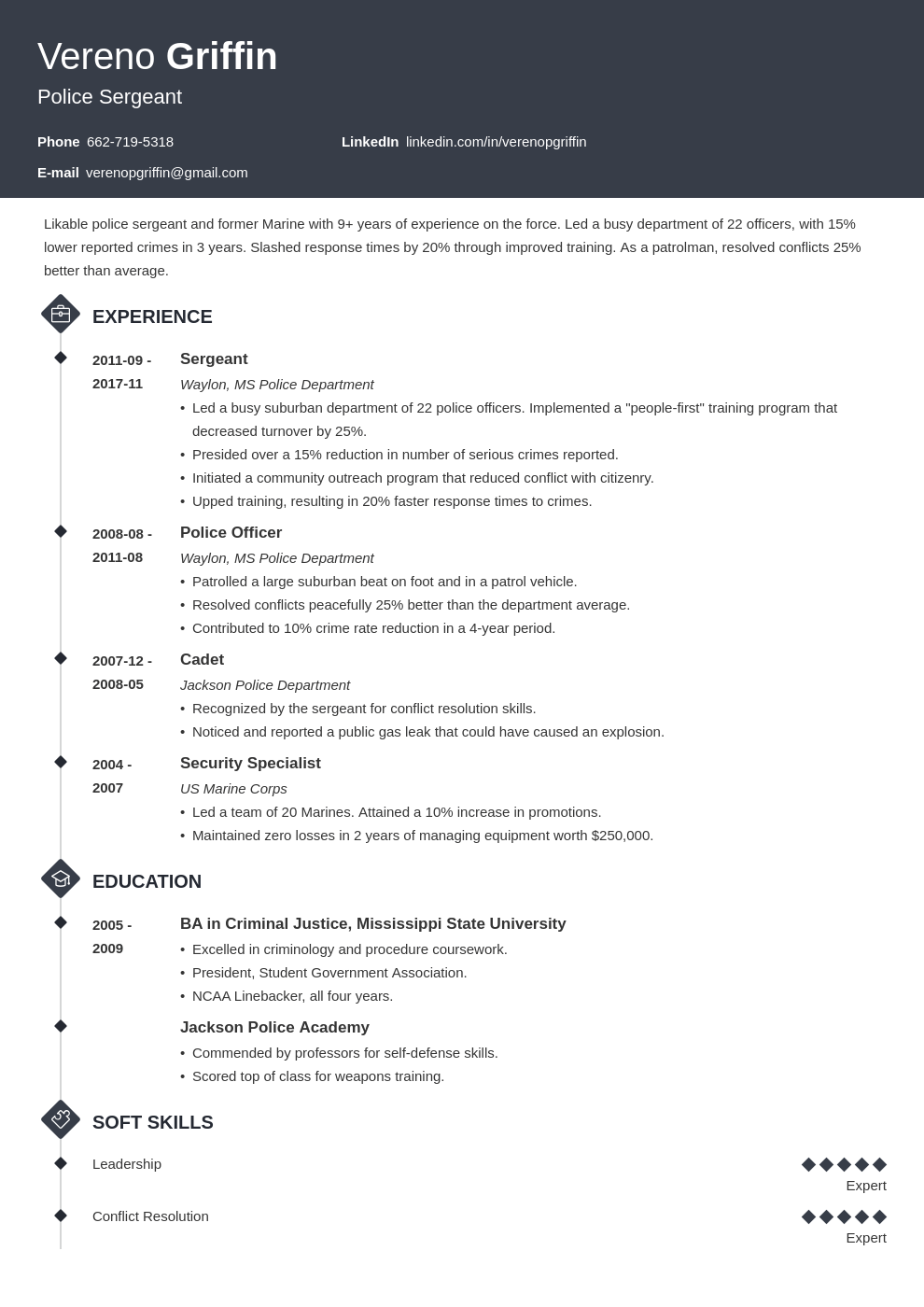 police officer resume example template diamond