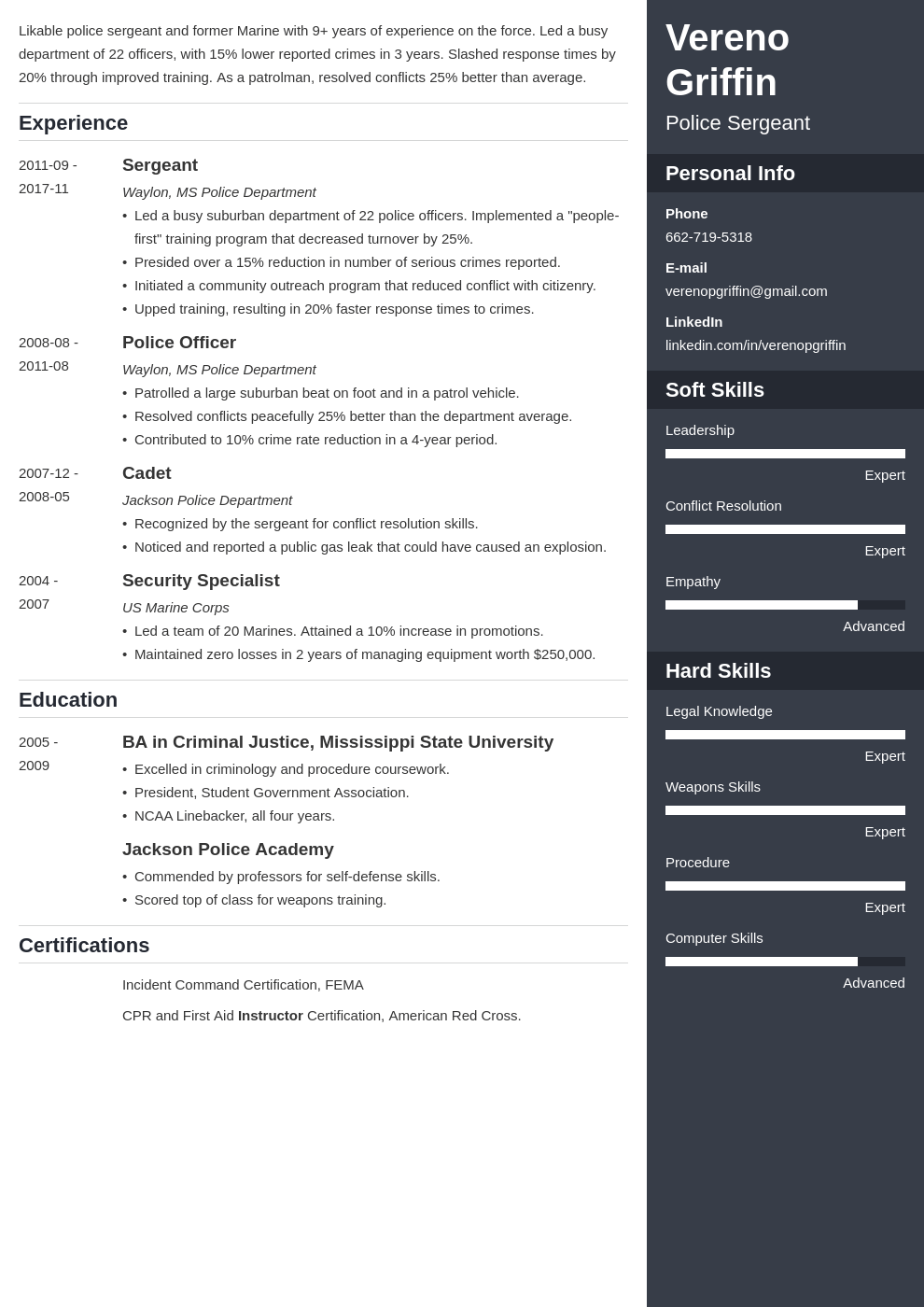 police officer resume example template enfold