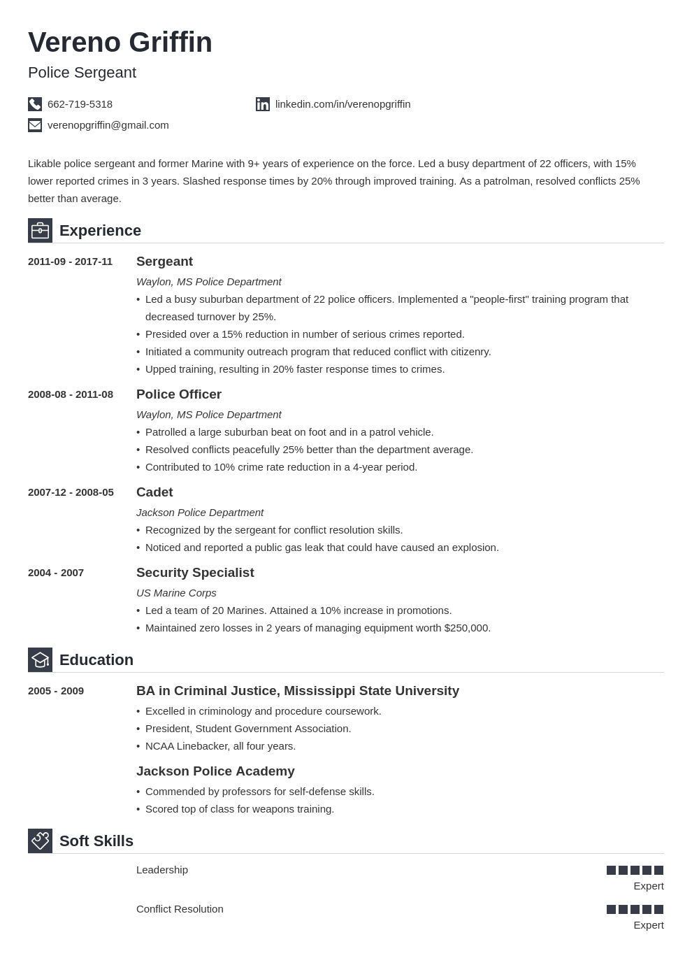 police officer resume example template iconic