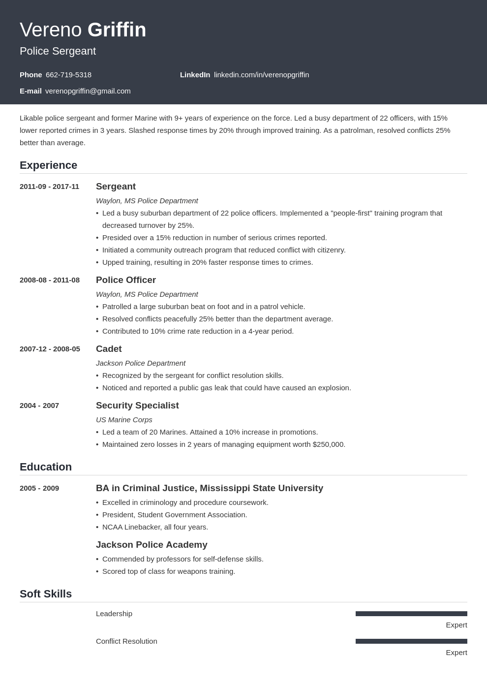 police officer resume example template influx