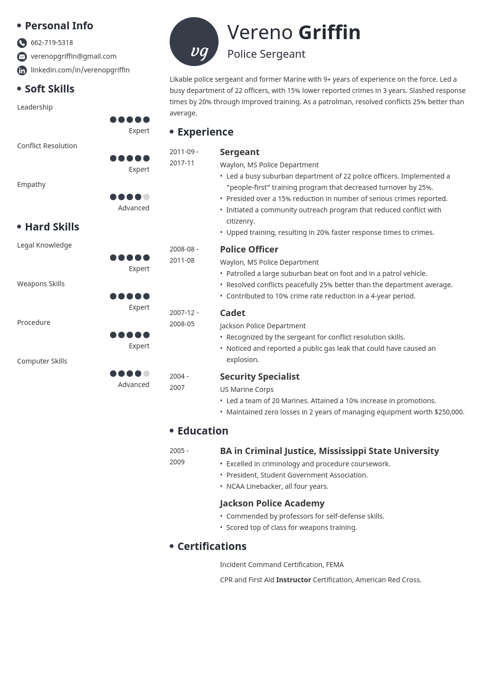 police officer resume example template initials