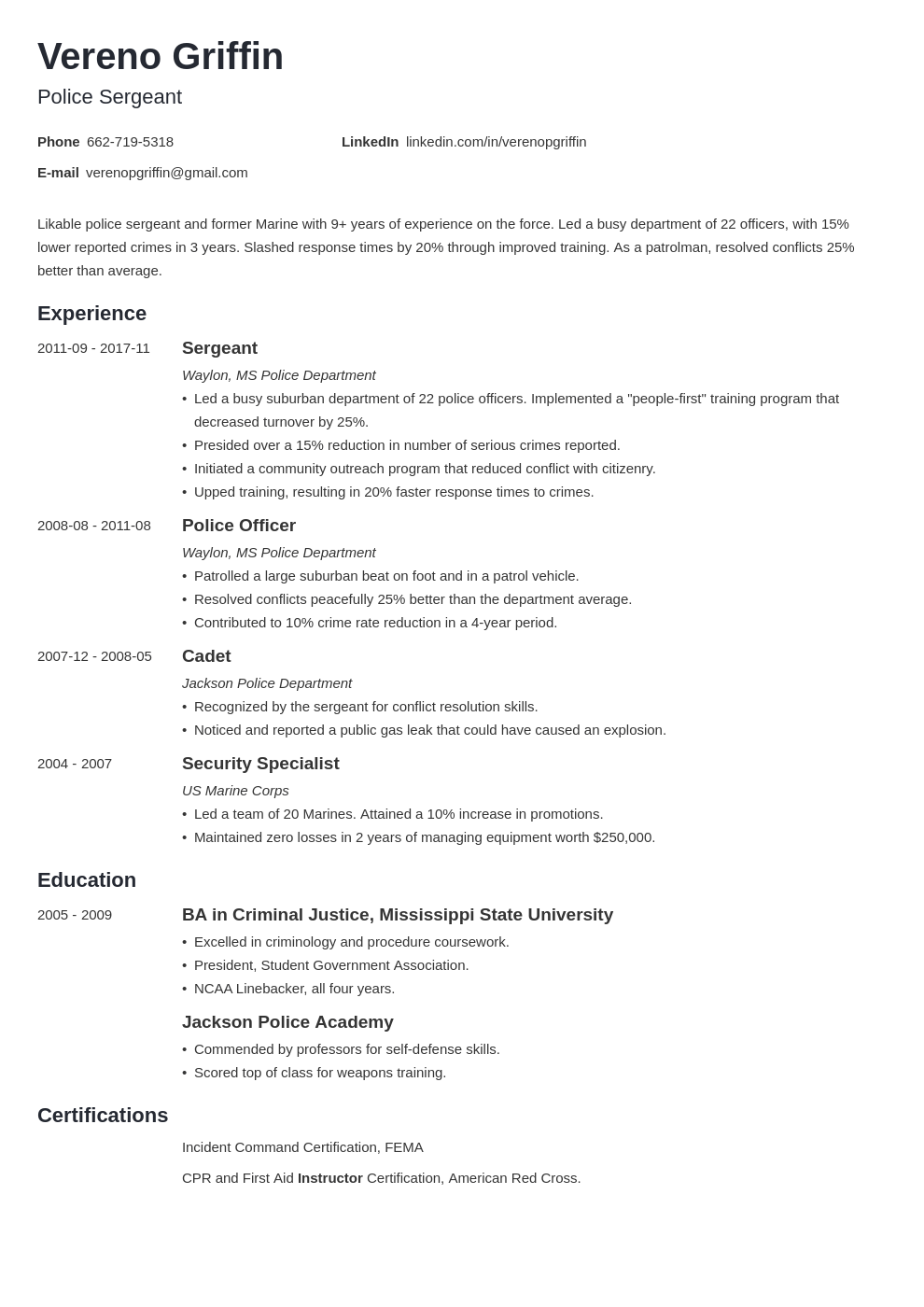 Police Officer Resume Examples Template & Guide