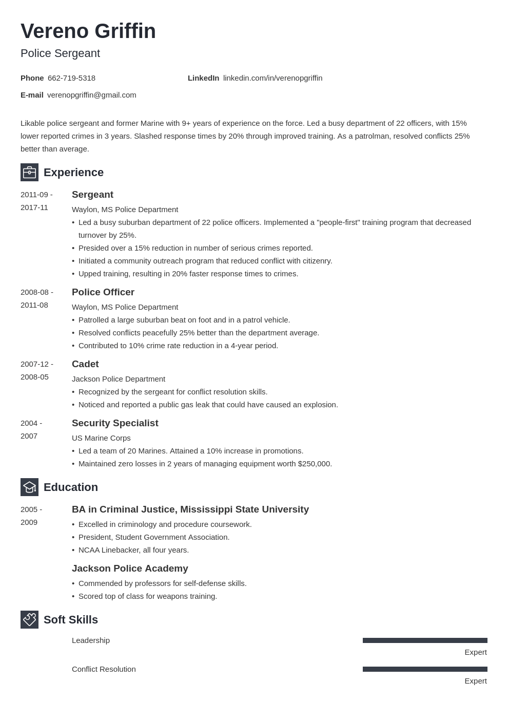 police officer resume example template newcast