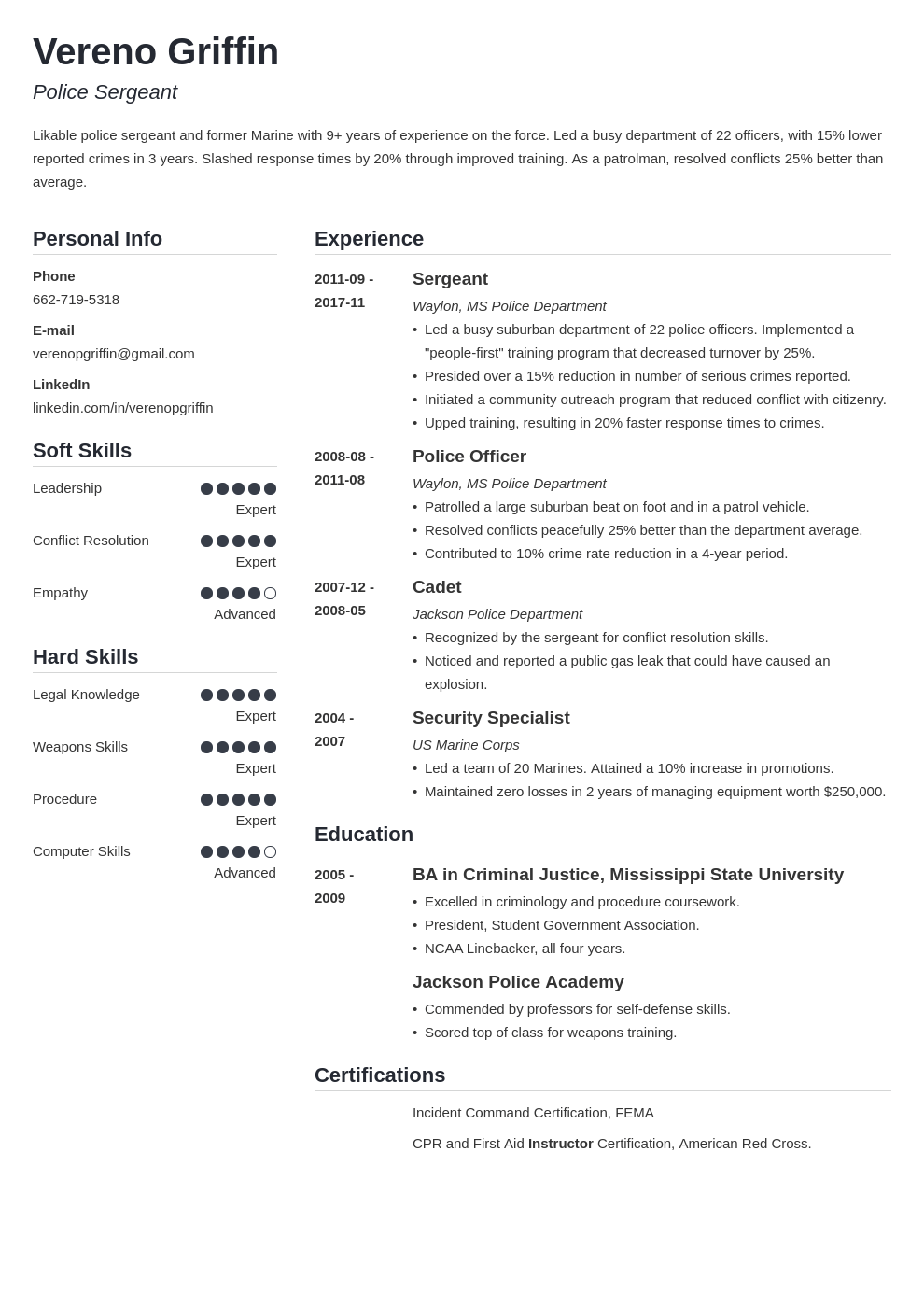 police officer resume example template simple