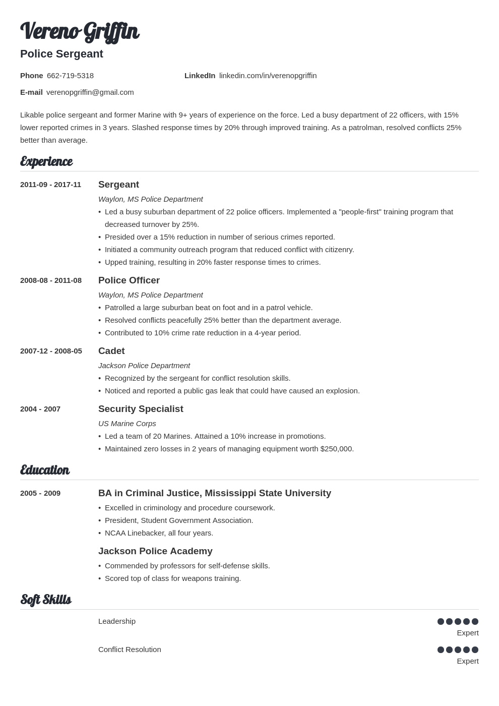 police officer resume example template valera