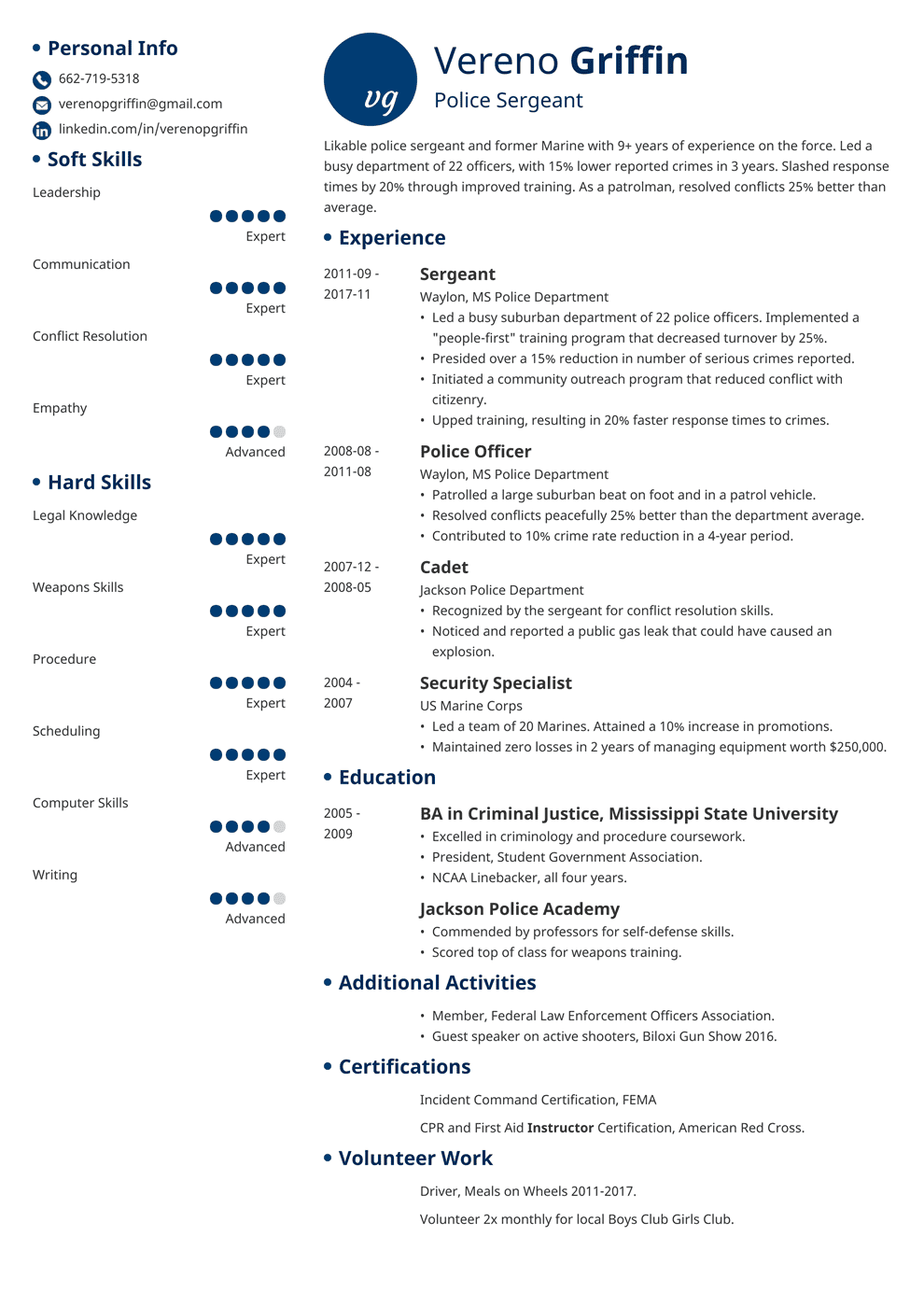 Police Officer Resume: Sample & Complete Guide [+20 Examples]