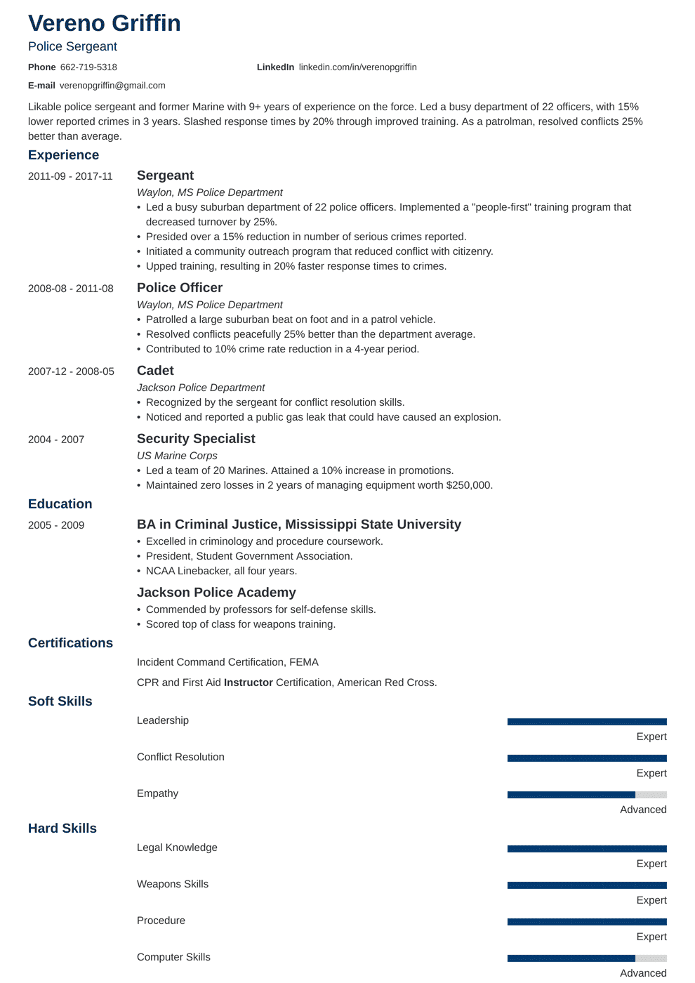 Police Officer Resume Examples Template Guide