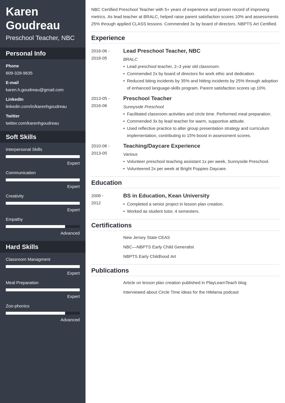 preschool teacher resume example template cascade