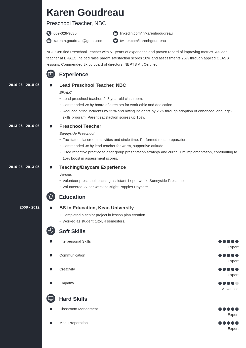 preschool teacher resume example template concept