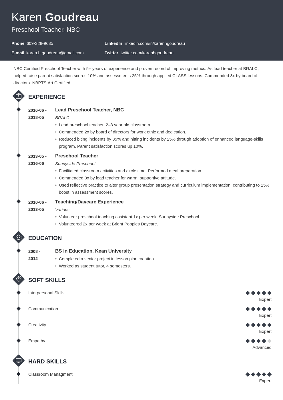 preschool teacher resume example template diamond