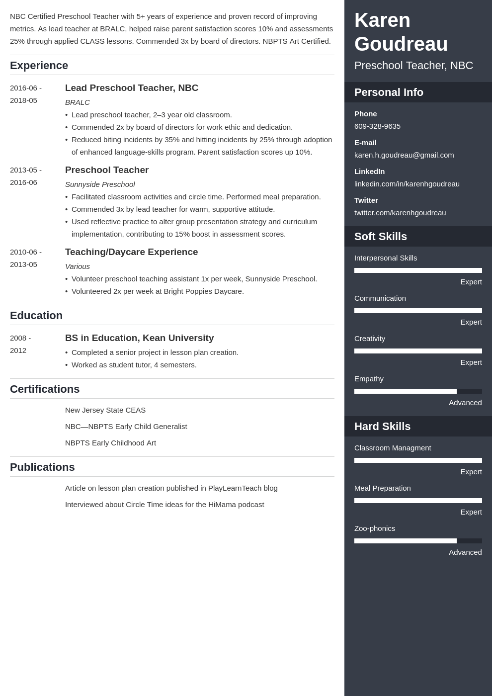 preschool teacher resume example template enfold