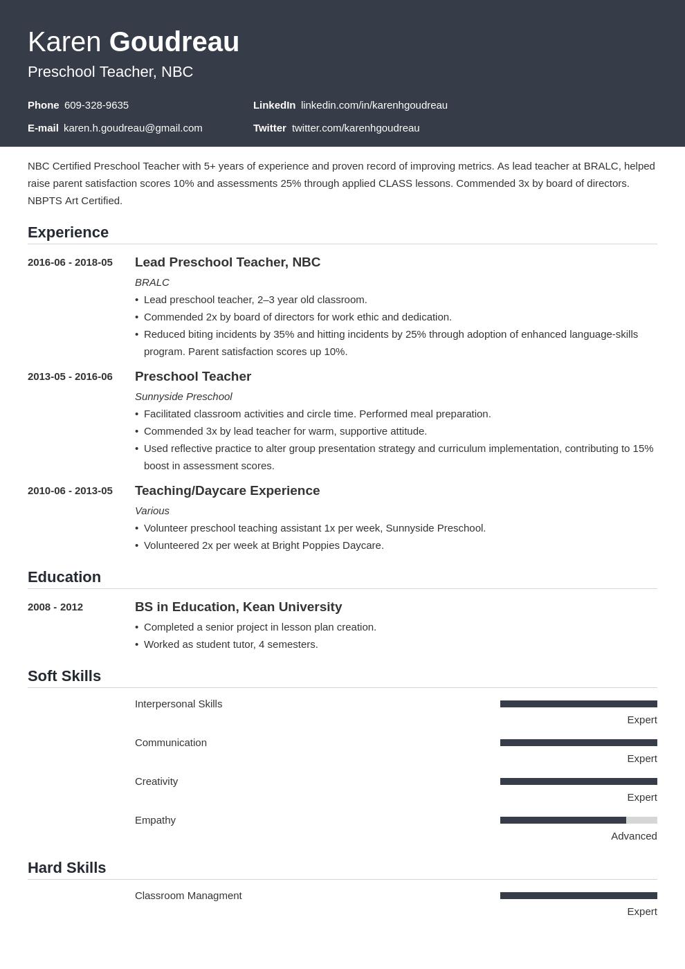 preschool teacher resume example template influx