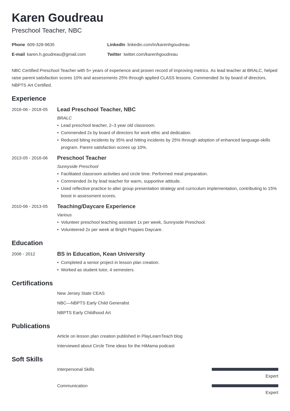 Preschool Teacher Resume Example Pre K Job Skills