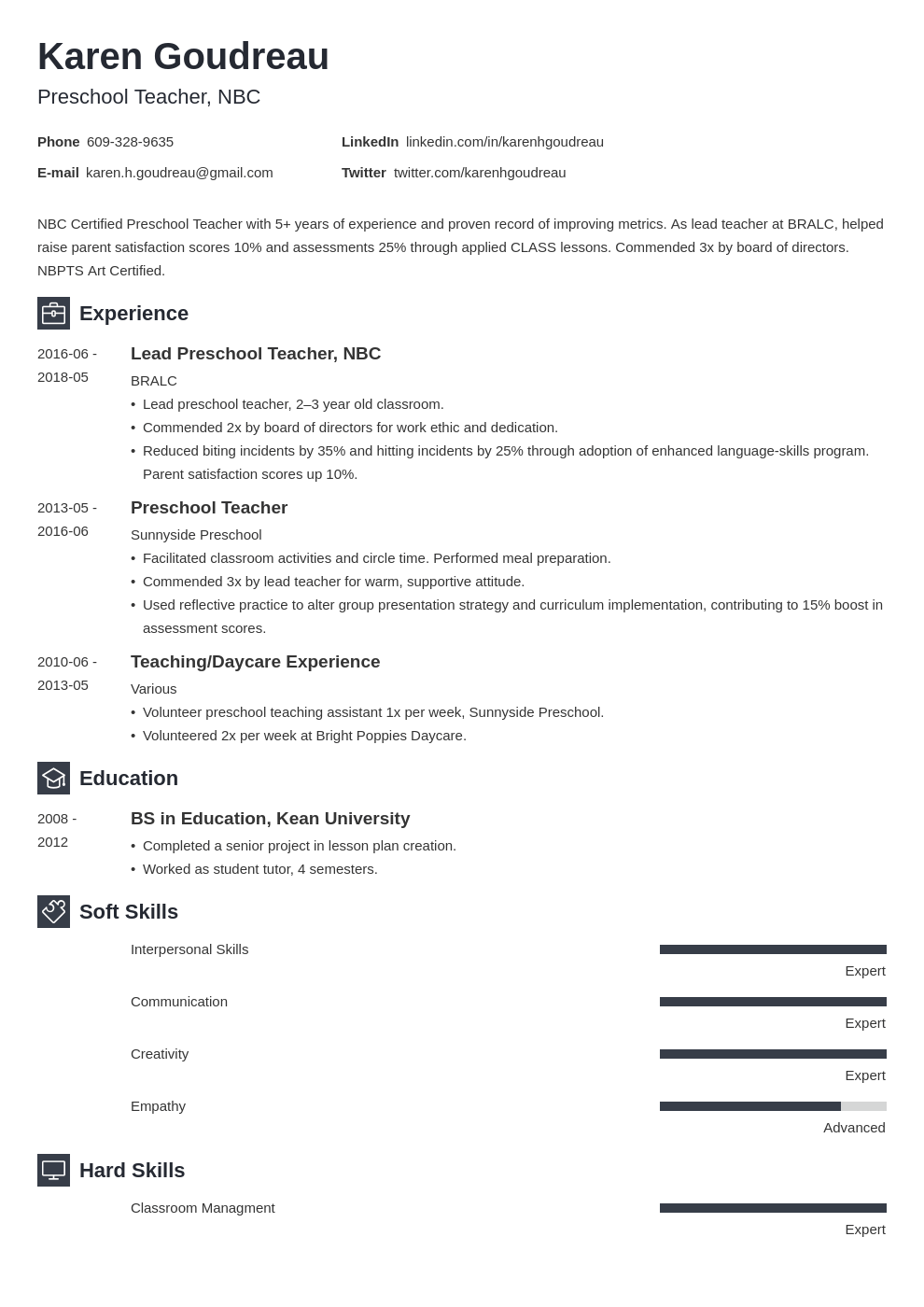 preschool teacher resume example template newcast