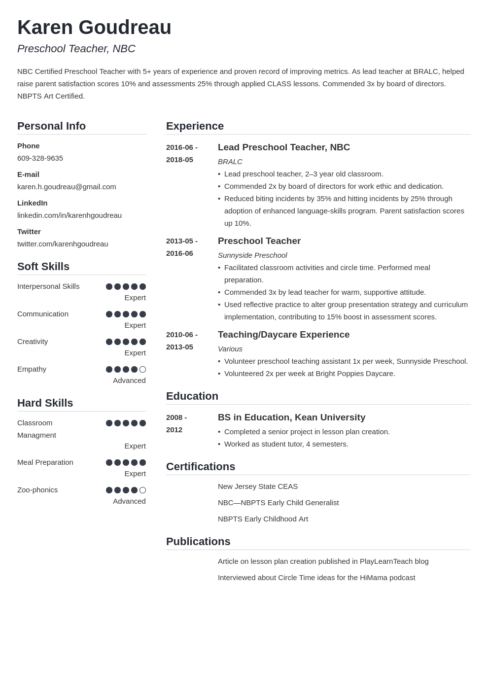 preschool teacher resume example template simple