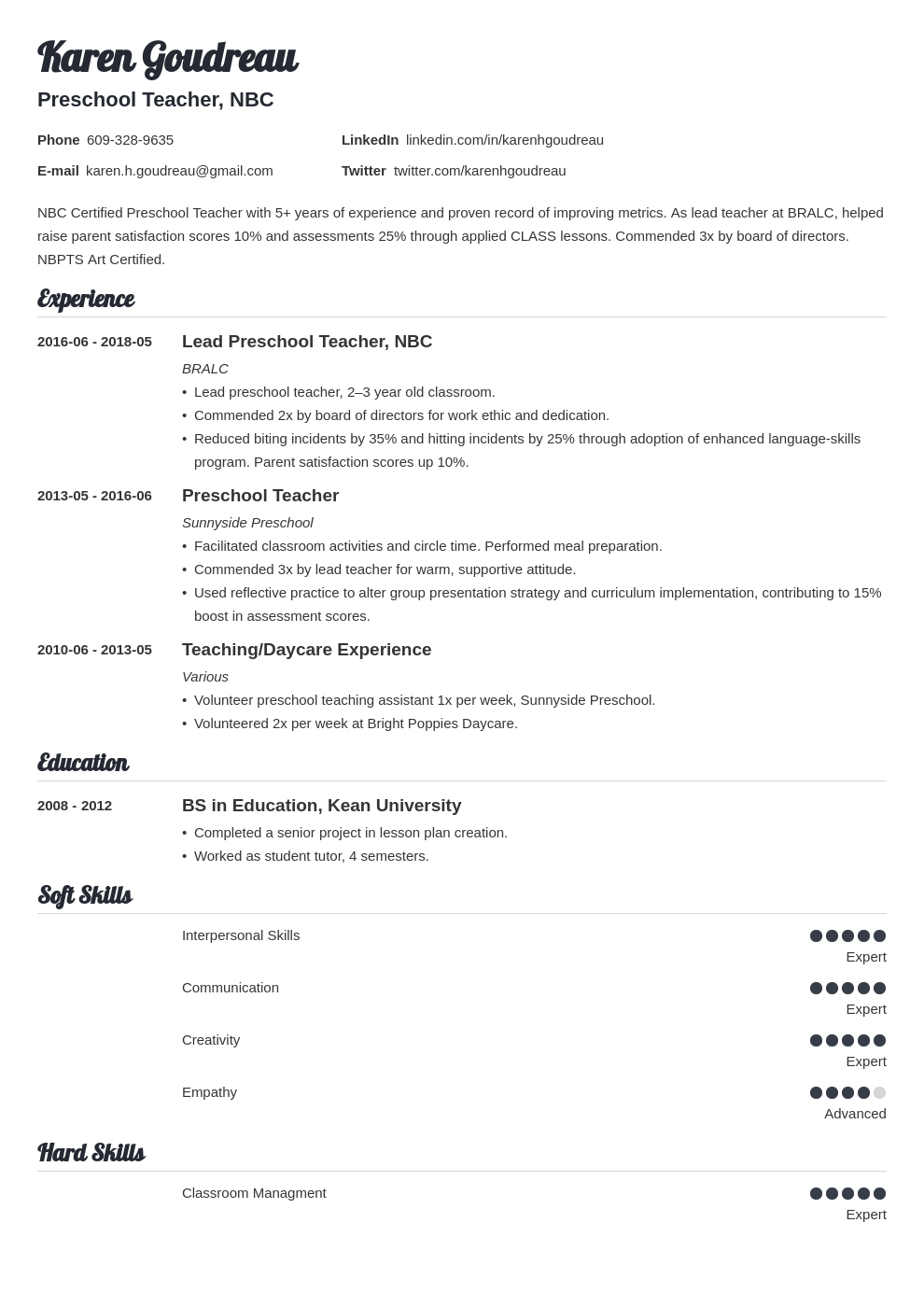 preschool teacher resume example template valera