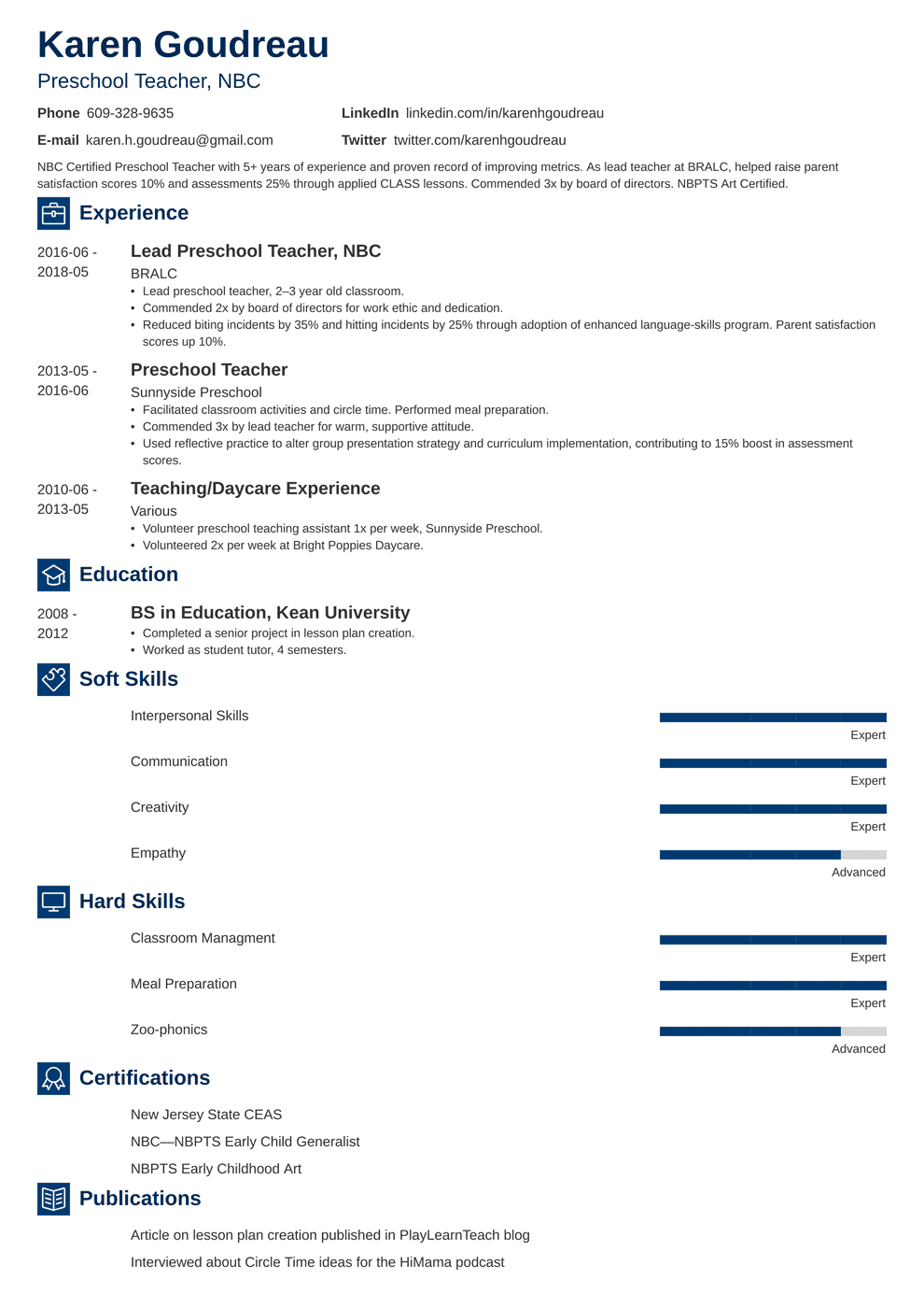 Preschool Teacher Resume Samples And Writing Guide 20