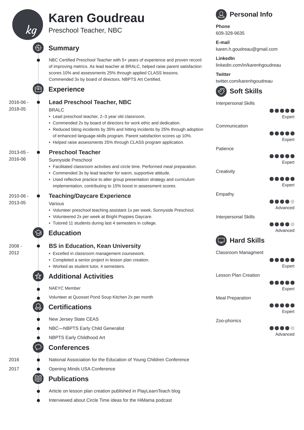 Preschool Teacher Resume: Samples and Writing Guide [+20 Examples]