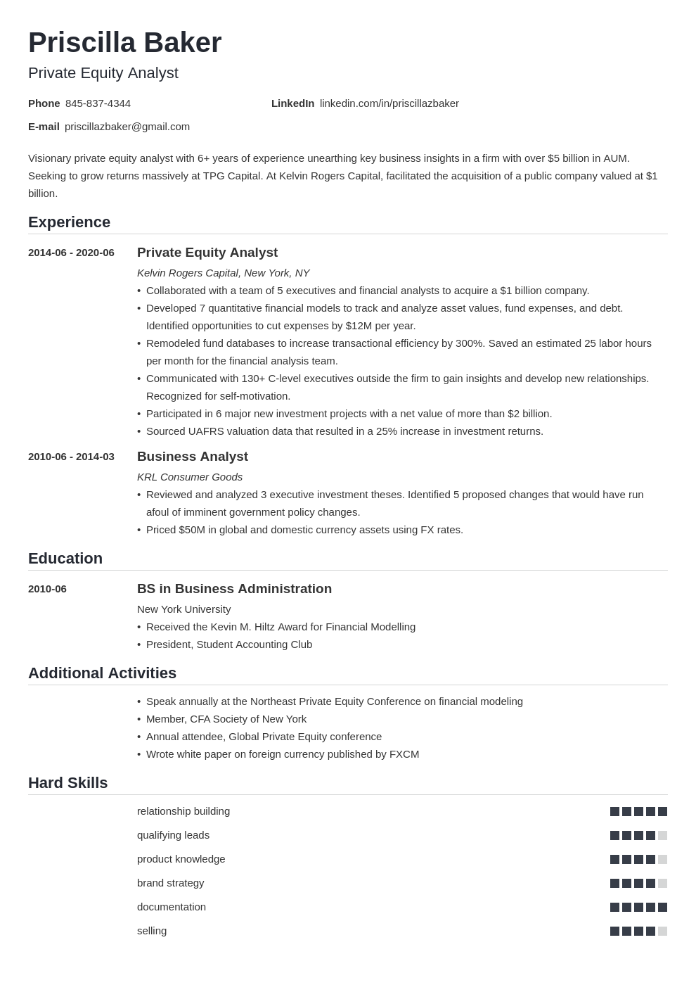 Consulting private equity resume assistance for expository essay