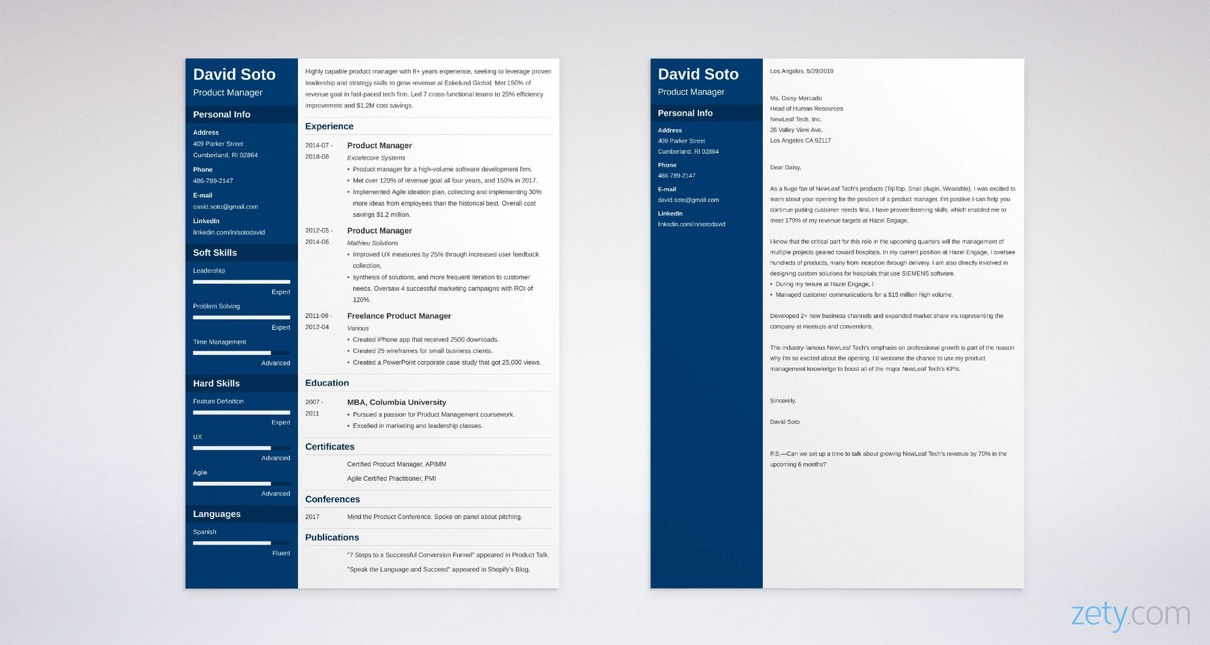 product manager resume and cover letter set