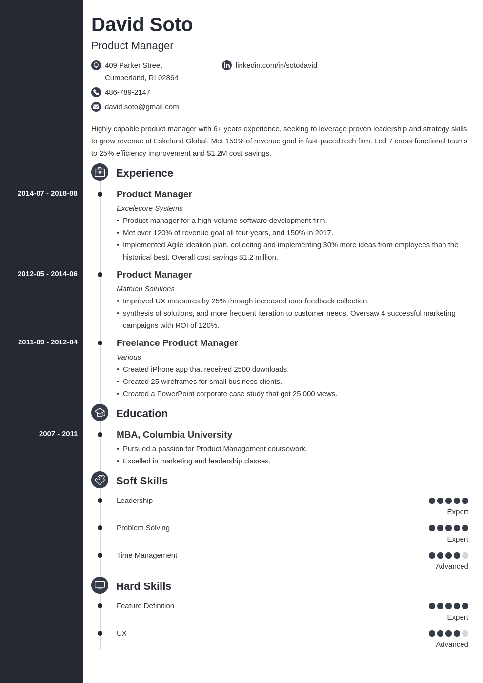 product manager resume example template concept