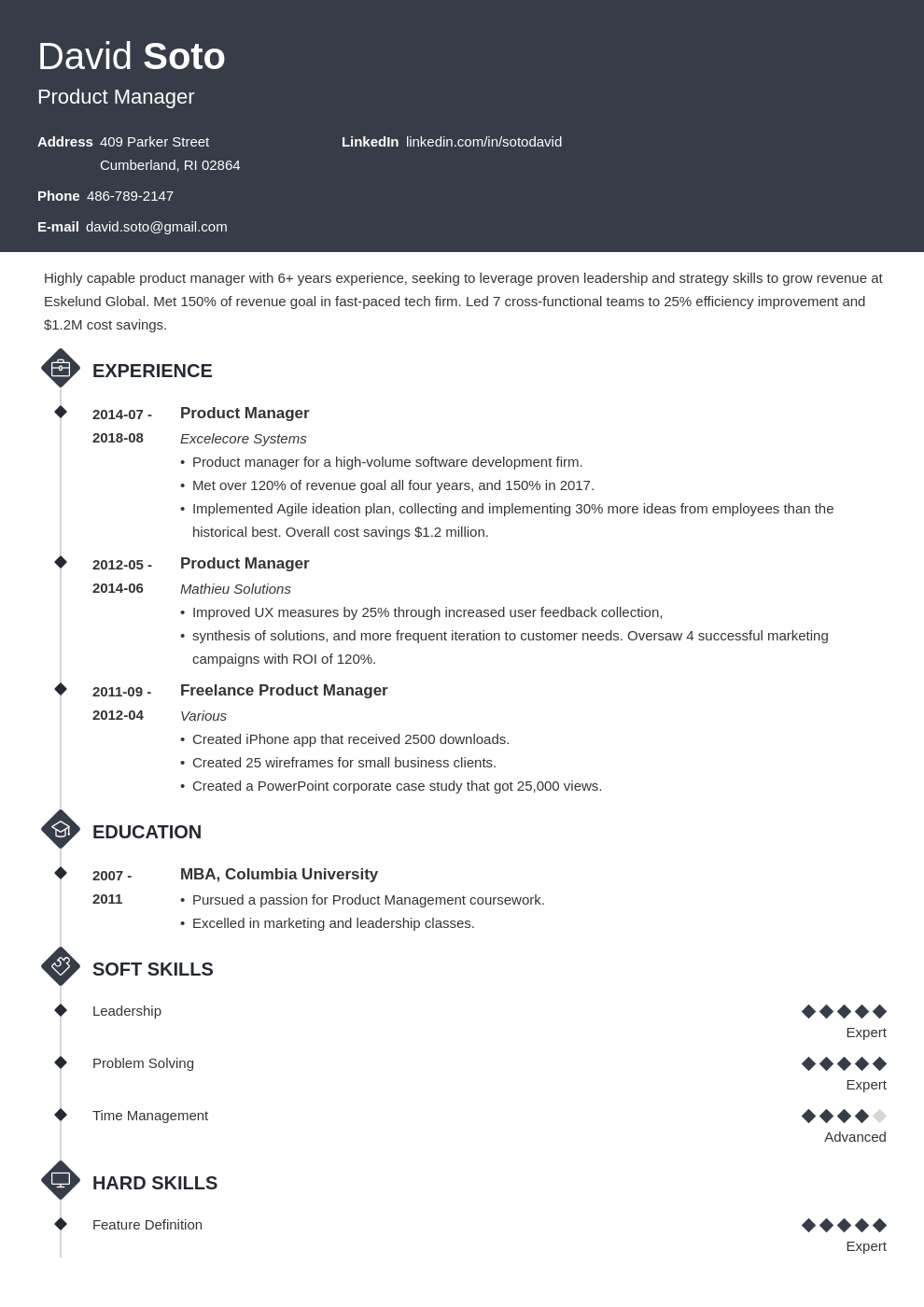 product manager resume example template diamond