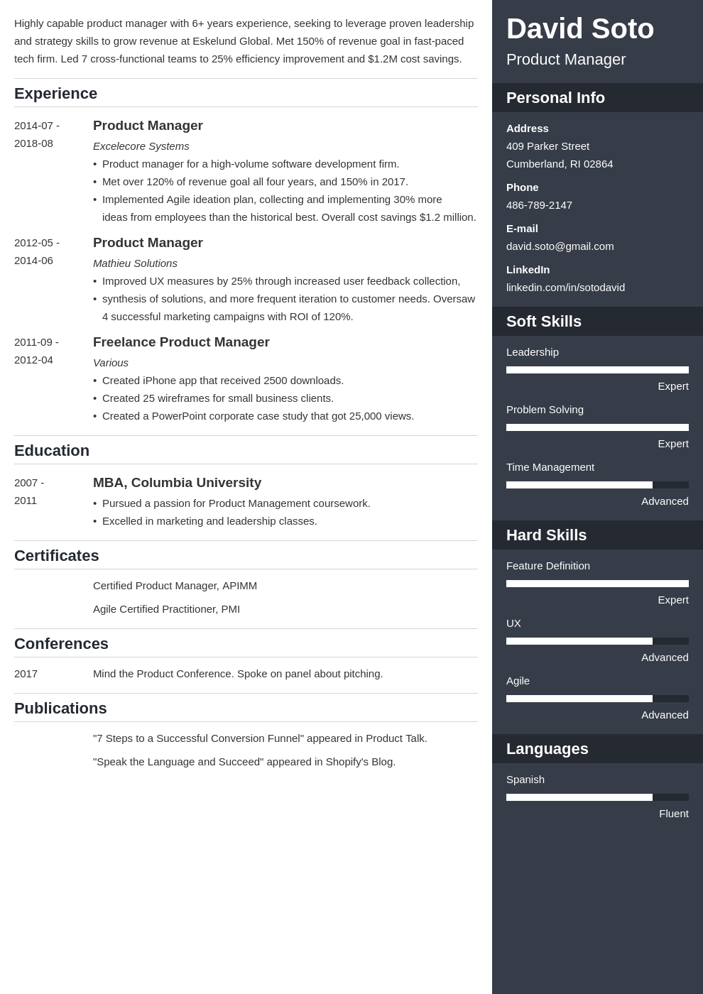 product manager resume example template enfold