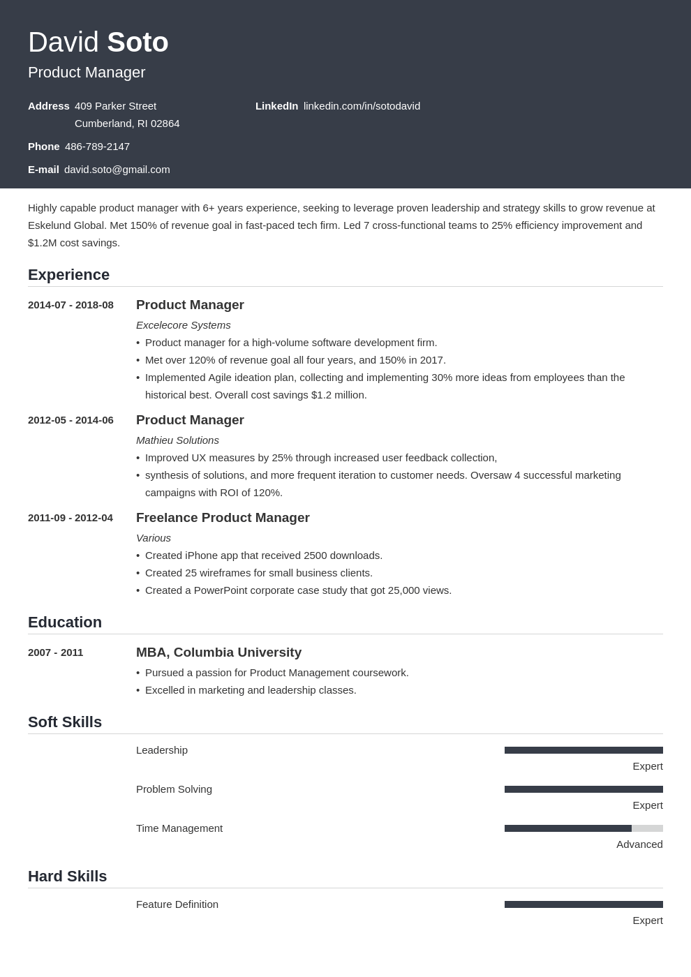 product manager resume example template influx