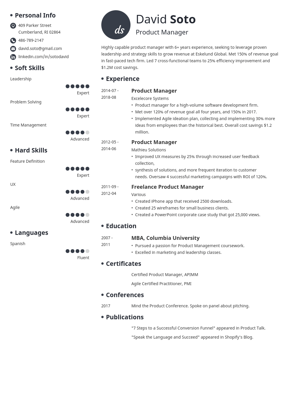 product manager resume example template initials