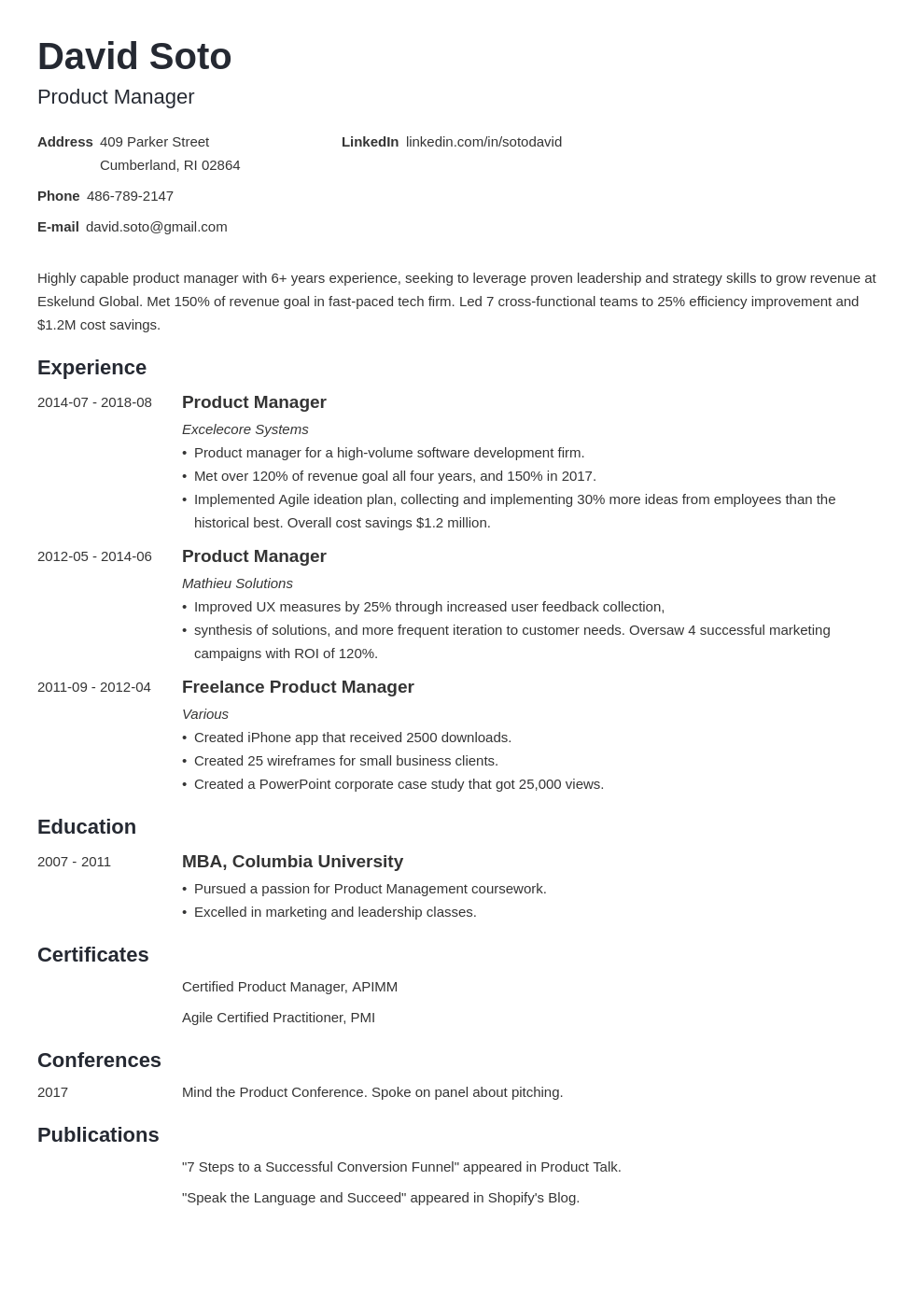 product manager resume example template minimo