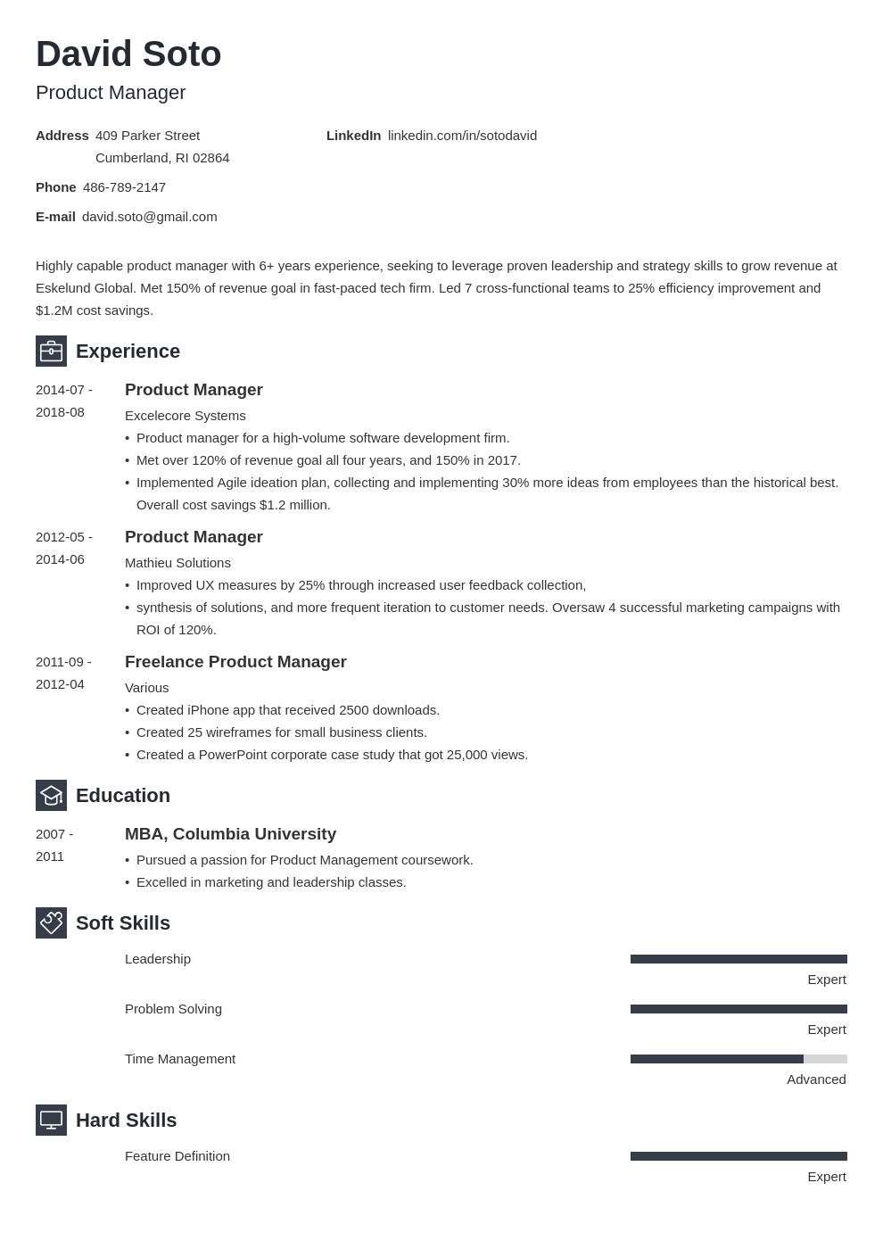 product manager resume example template newcast