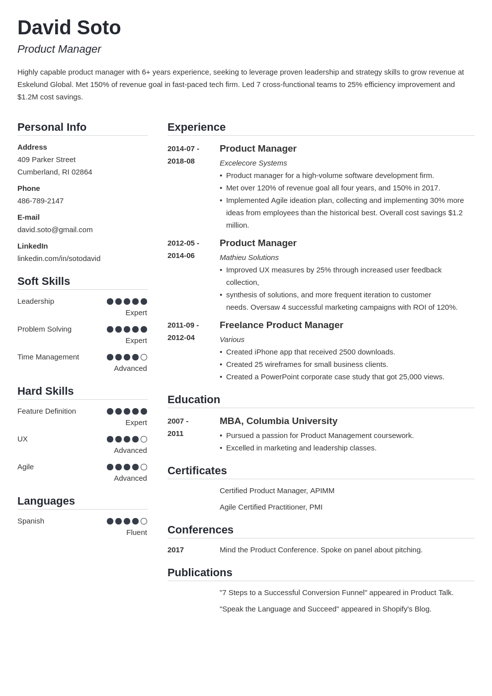 product manager resume example template simple