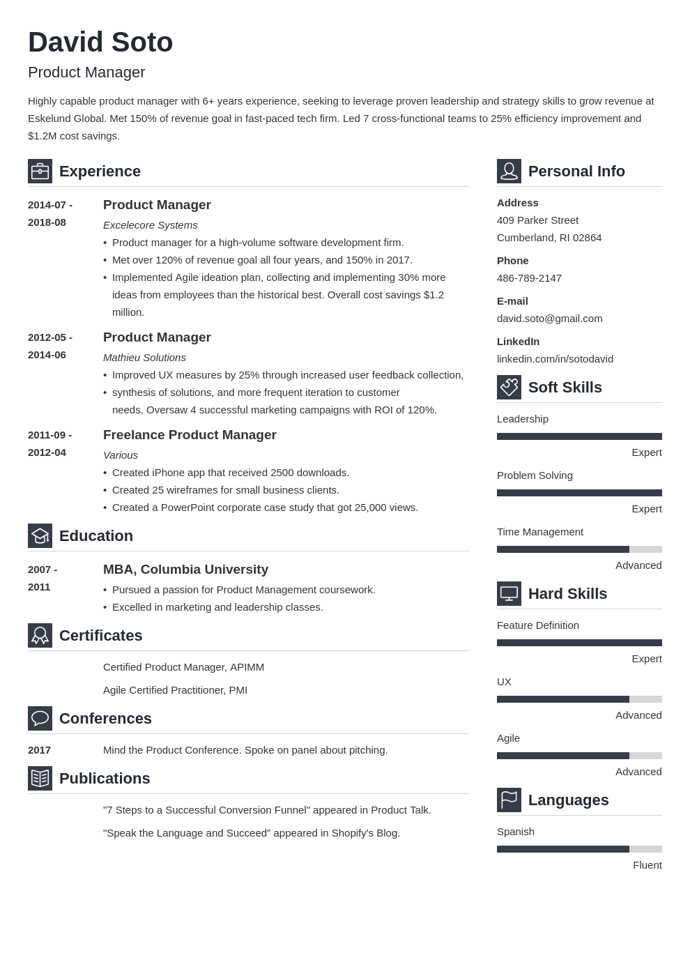 product manager resume example template vibes
