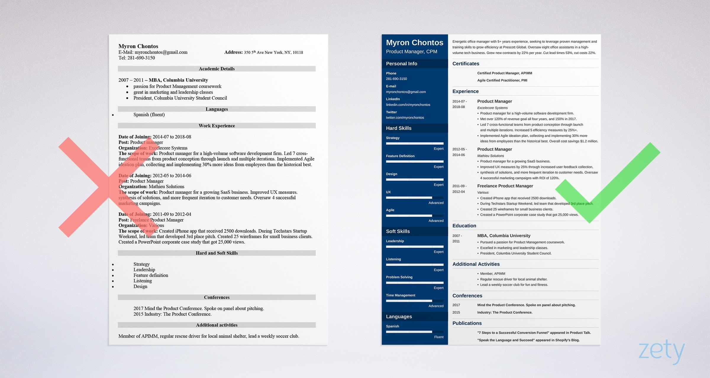 product manager resume templates