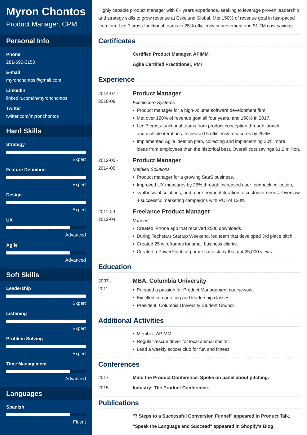 product manager resume examples  guide  u0026 template